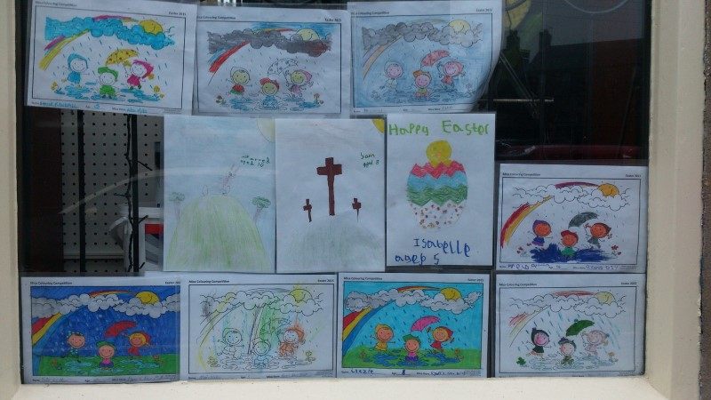 Our first entries for the Easter Colouring Competition are already on display